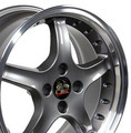 "17"" Fits Mustang® Cobra R 4 Lug Deep Dish Wheel Anthracite / Rivets 17x8"