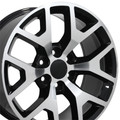 "22"" Chevy 1500 GMC Sierra Wheels Rims Black Machine Face Set of 4 22x9- Hollander:5656"
