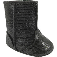 Baby Deer Sparkling Black Crawling Boots