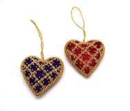 Hand Embroidered  Heart Ornaments