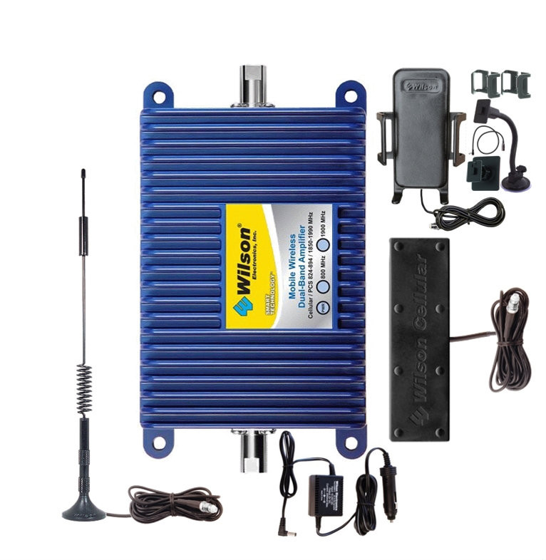 Mobile Wireless Bundle Wilson 801212-K, +50dB gain vehicle wireless amplifier system with Low Profile & Cradle Plus antennas, main image