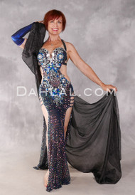CRYSTAL VISION Egyptian Dress Black, Silver, Copper and Blue