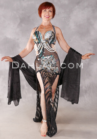 DIAMONDS & PEARLS Egyptian Dress - Black, Teal and Silver