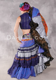 25 Yard Tiered Ruched Silk Skirt - Periwinkle, Silver, Navy, Orange and Black Combination Skirt #33