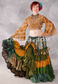 25 Yard Tiered Ruched Silk Skirt - Forest Green, Olive, Green and Mustard Combination Skirt #37