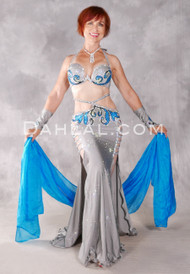 STERLING SILVER Egyptian Beaded Costume - Gray, Turquoise, Silver and Black