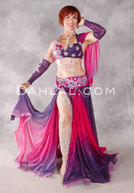 BLOOMING PASSION Egyptian Beaded Costume - Purple, Fuchsia and Silver