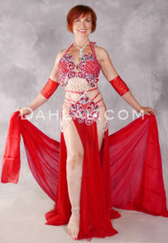 CLEOPATRA'S DREAM Beaded Egyptian Costume - Red and Silver