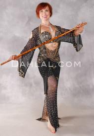 NAILAH Egyptian Beledi Dress - Black and Gold