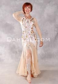 RADIANT BLISS Egyptian Beaded Dress - Beige, White, Gold and Amber