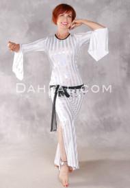 AZIZA Saidi Dress Ltd. Ed. in Holographic Stripes - White and Silver