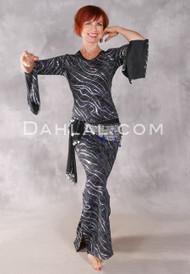 AZIZA Black and Silver Streamers & Confetti Saidi Dress