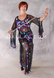 Egyptian Paillette Dress - Black and Multi-color