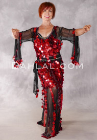 Egyptian Paillette Dress - Black and Red