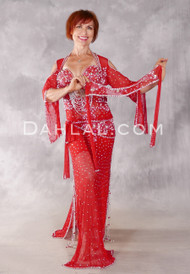 NAILAH II Egyptian Beledi Dress - Red, White and Silver, Bra Size C-C/D