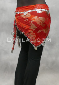 Red Egyptian Triangular Big and Small Coin Scarf