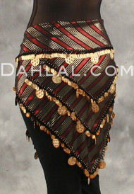 Three Row Egyptian Coin Hip Scarf With Multi-Sized Coins - Stripe Black, Gold and Red