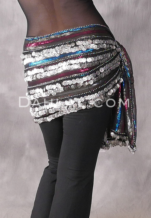 Stripe-02 with Fuchsia/Blue/Gold Metallic with Silver Coins