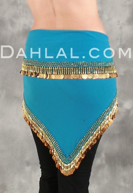 EGYPTIAN Single-Row Teardrop COIN HIP SCARF for Belly Dance image