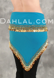 EGYPTIAN Single-Row Teardrop COIN HIP SCARF for Belly Dance