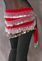 Multi-Row Egyptian Coin Teardrop Hip Scarf in Red and Silver