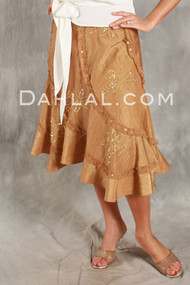 Flirty BOTANICAL TWIST SKIRT of Beaded Iridescent Taffeta by Daniel K image