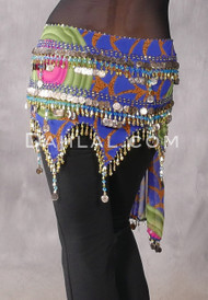 Egyptian Teardrop Wave Hip Scarf in a Blue Graphic Print, P-GR-47-GD