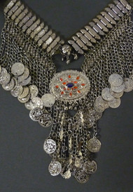 Tribal Belly Dance Gunmetal Coin Necklace with Enameled Medallion