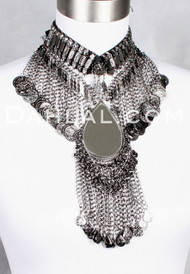 GUNMETAL COIN NECKLACE with MIRROR TEARDROP from Egypt