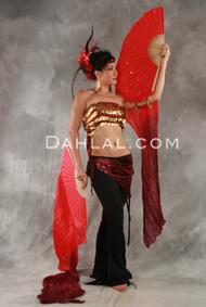 PAIR OF SILK VEIL FANS, for Belly Dance