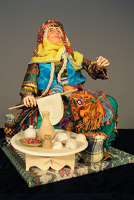 Old Village Woman Making Bread Doll