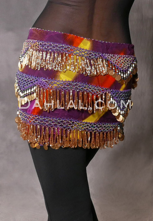 Tie-Dye Crocheted Beaded Coin Hip Scarf