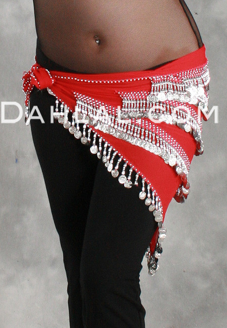 MULTI-ROW CHEVRON TEARDROP COIN HIP SCARF SHAWL in Red and Silver
