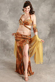 NATURALLY NIMBLE in Gold Leopard Print by Hoda Zaki, Egyptian Belly Dance Costume