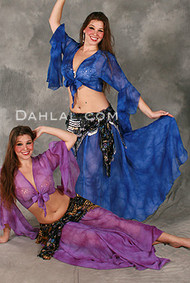 SAHARA SUNRISE II in Purple with Royal Blue Tie-Dye, Two Piece Ensemble from Rising Stars, Egyptian Belly Dance Costume