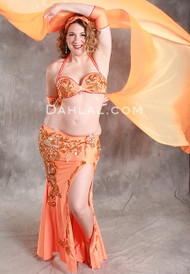 DESERT DREAM in Orange and Gold by Pharaonics of Egypt, Egyptian Belly Dance Costume