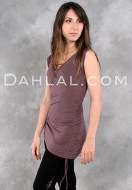 Double Drawstring Tunic with Cap Sleeves and Lacing by Queen of Hearts