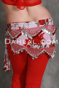 PRINTED CRESCENT PYRAMID Egyptian Hip Scarf, for Belly Dance
