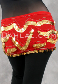 Red and Gold Graceful Crescent Egyptian Hip Wrap, with Coins, for Belly Dance