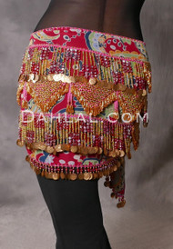 Paisley Beaded Fringe Coin Hip Scarf