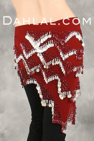 MULTI-ROW CHEVRON COIN/BEADED SHAWL, The Shawl that has it all, for Belly Dance