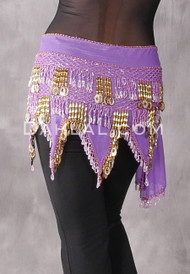 Lavender and Gold Teardrop Beaded Fringe Hip Scarf
