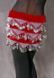 Velvet Pyramid Coin Scarf in Red and Silver