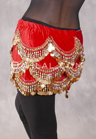 Red and Gold Crescent Velvet Coin Scarf for Belly Dance