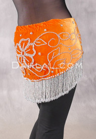 Velvet Fringe Benefits Egyptian Hip Scarf, Style 2 - Orange and Silver