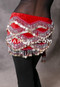 Red and Silver Velvet Diamond Patterned Coin Hip Scarf