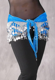 Turquoise and Silver Wavy Velvet Pyramid Hip Scarf