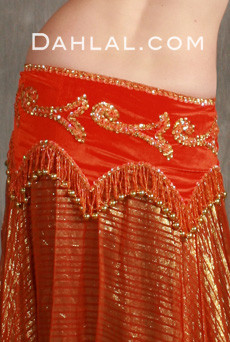 Egyptian beaded hip scarf with scalloped edges