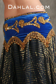 Egyptian beaded velvet hip scarf