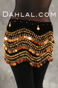 Velvet Wave Coin Wrap for Belly Dance